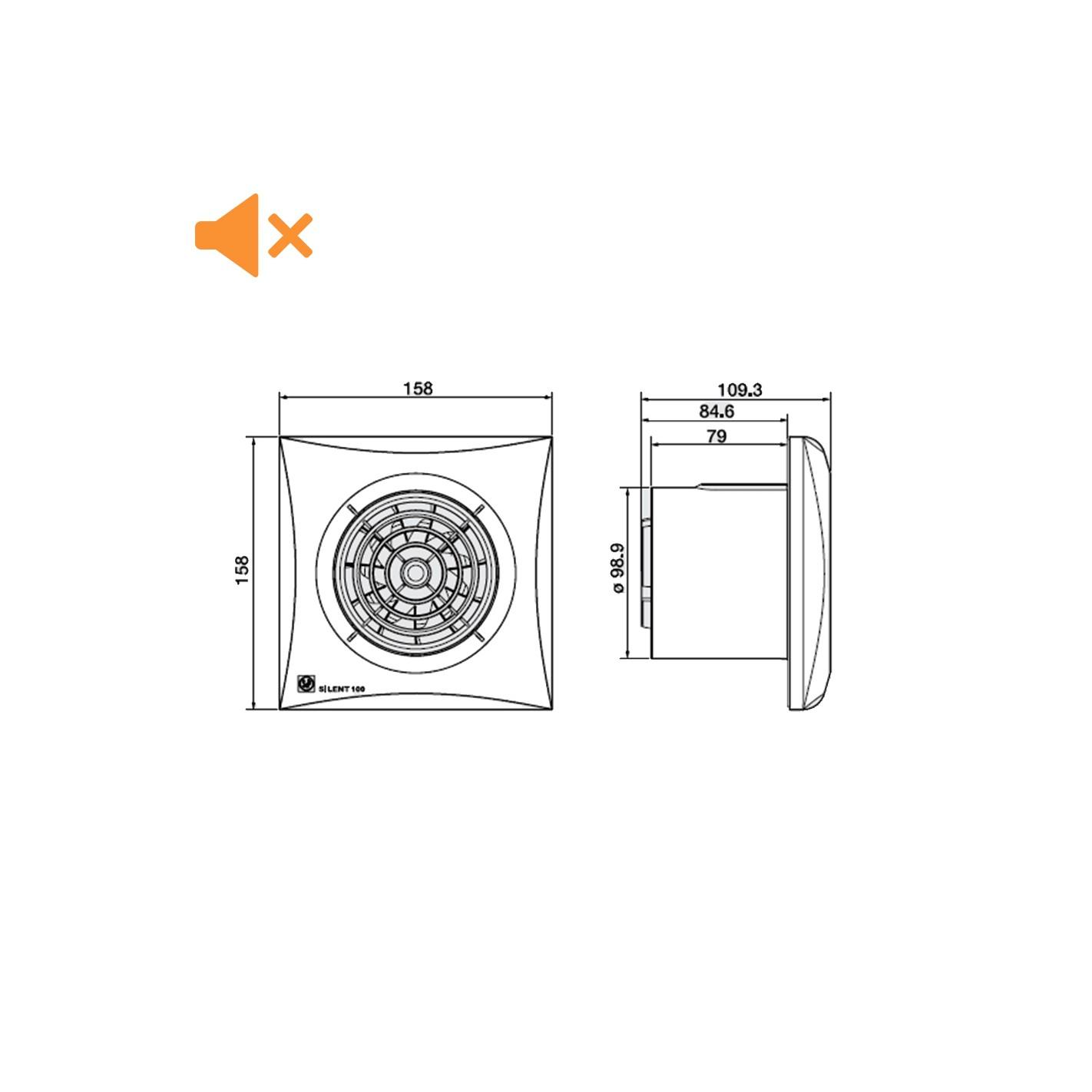 Extractor De Baño A Pilas:Extractor de baño S&P Silent-100CZ Silver C/RodBola – ALG SISTEMAS