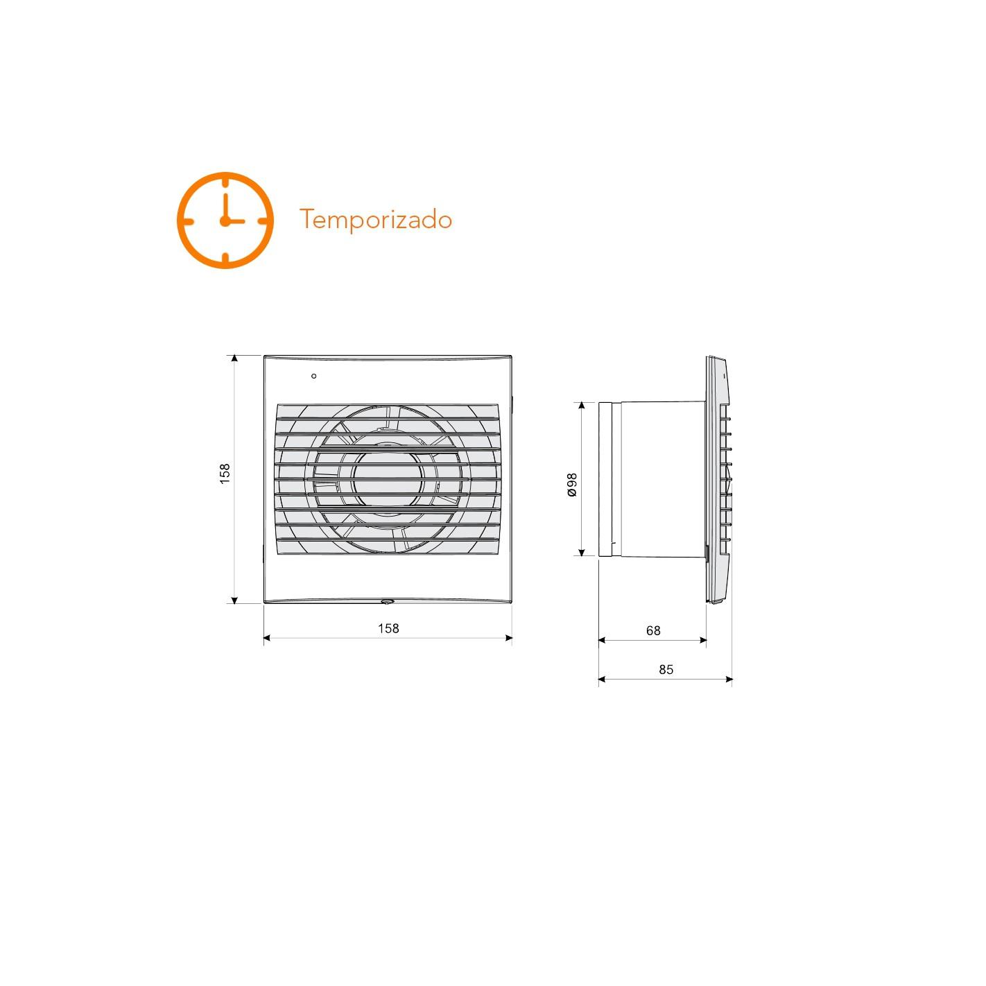 Extractor De Baño Temporizado: Extractores de baño > Extractor de baño temporizado S&P Decor-100 CR