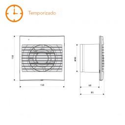 Extractor de baño temporizado S&P Decor-100 CRZ