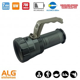 Linterna Led recargable 10W con zoom y asa