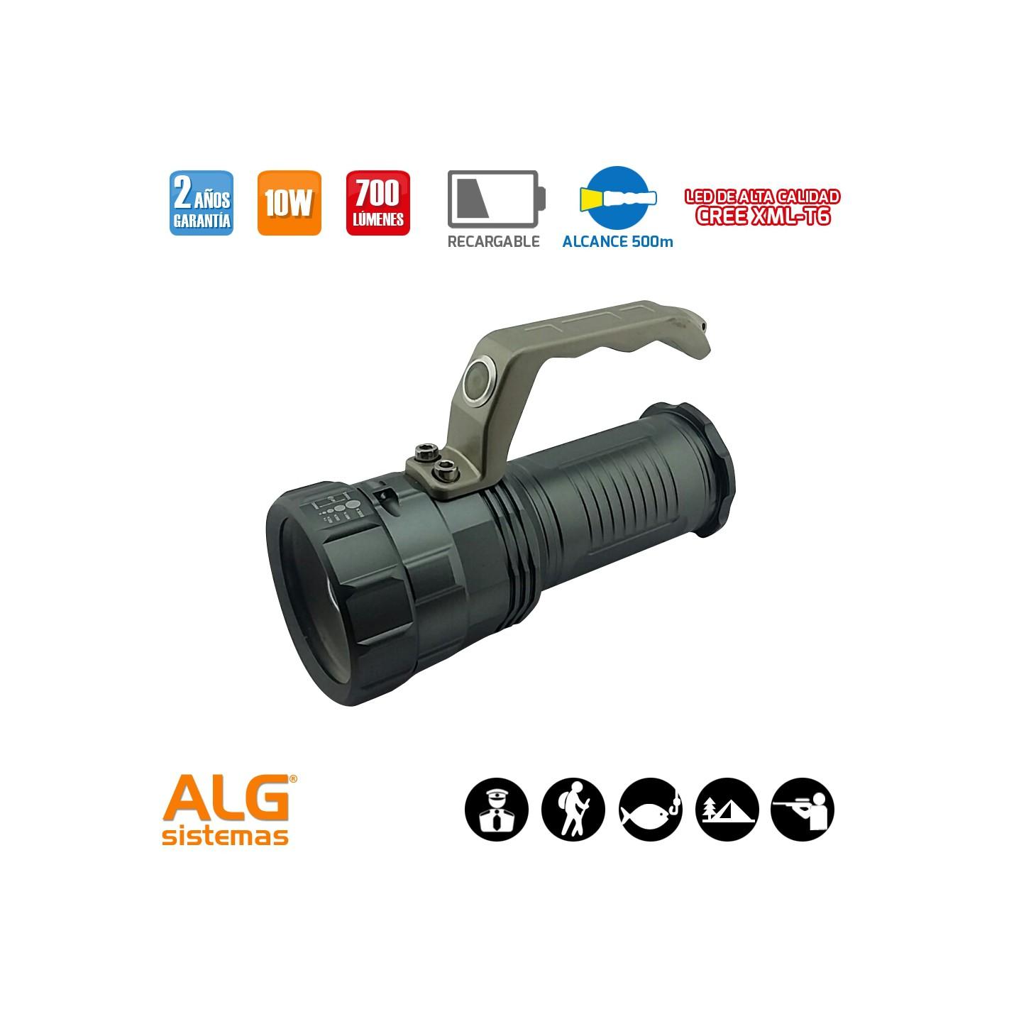Linterna led recargable 10w con con zoom y asa alg sistemas - Linterna recargable led ...