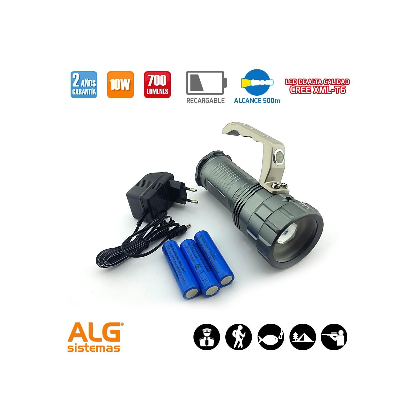 Linterna led recargable 10w con con zoom y asa alg sistemas - Linterna led recargable ...