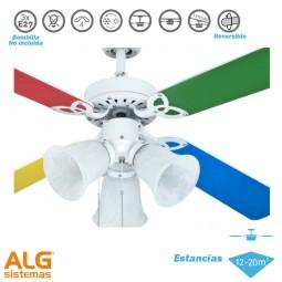 Ventilador de techo con luz blanco/multicolor Hornet