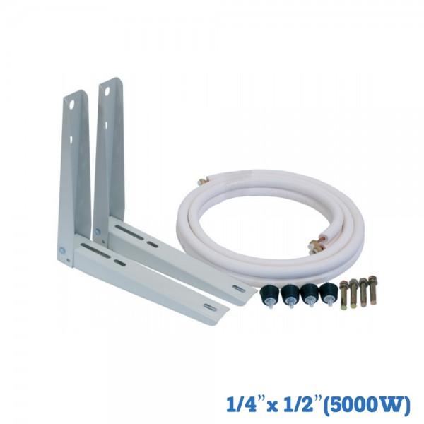 "Kit de instalación: Soportes 400 mm+Tubo+Antivibradores+Tacos metálicos fijación a muro 1/4""x1/2""(5000W)"
