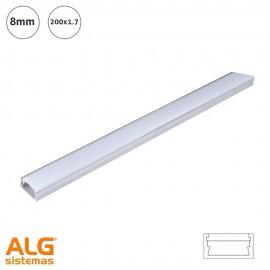 Perfil de aluminio de superficie 8mm para tira De Led (200x1.7)
