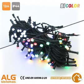 Guirnalda Led Multifunción Bicolor (Multicolor-Blanco) IP44 12m