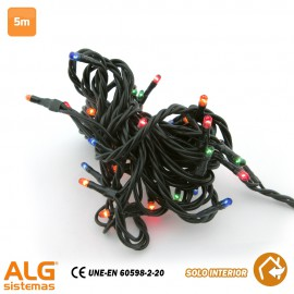 Guirnalda Led Multicolor 5 mts 50 Leds (Cable verde)