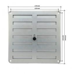 Rejilla de ventilación regulable 170x170 mm Plata