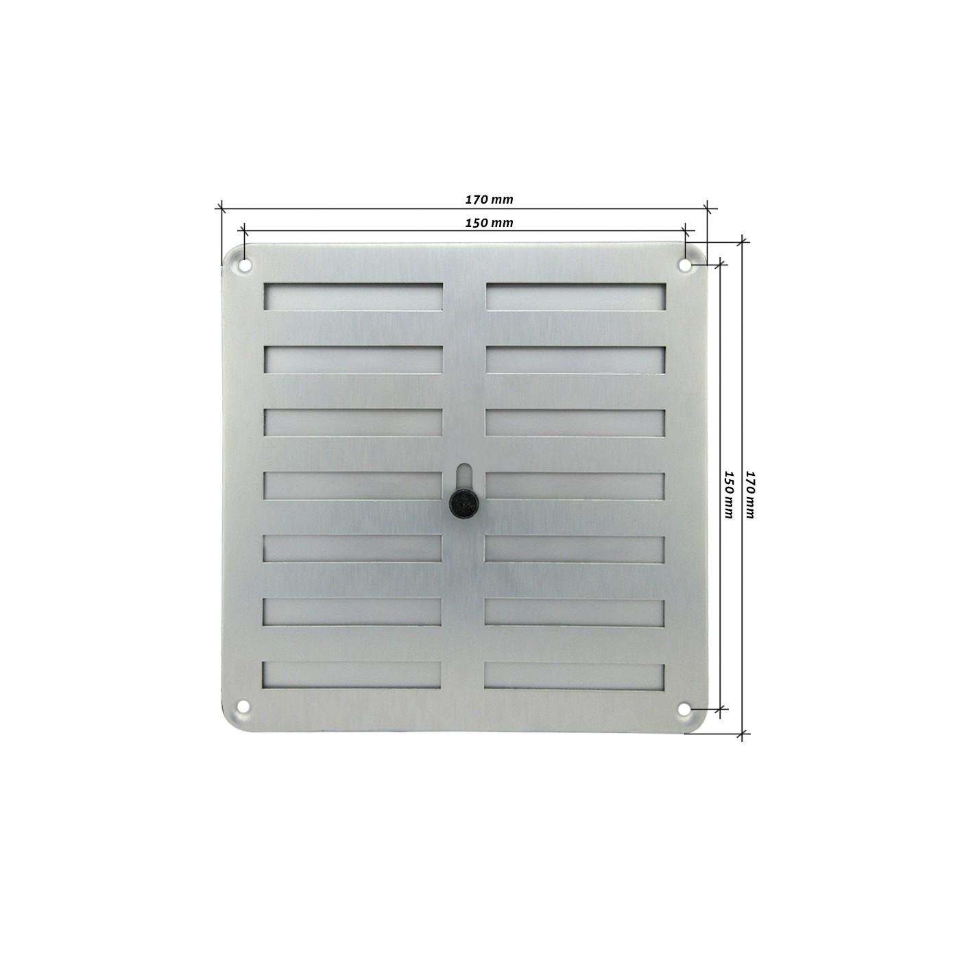 Rejilla de ventilaci n regulable 170x170 mm plata alg - Rejilla de ventilacion regulable ...