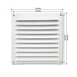 Rejilla de ventilación plana 150x150 mm Blanca
