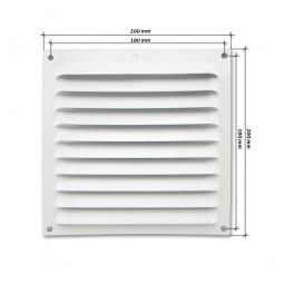 Rejilla de ventilación plana 200x200 mm Blanca