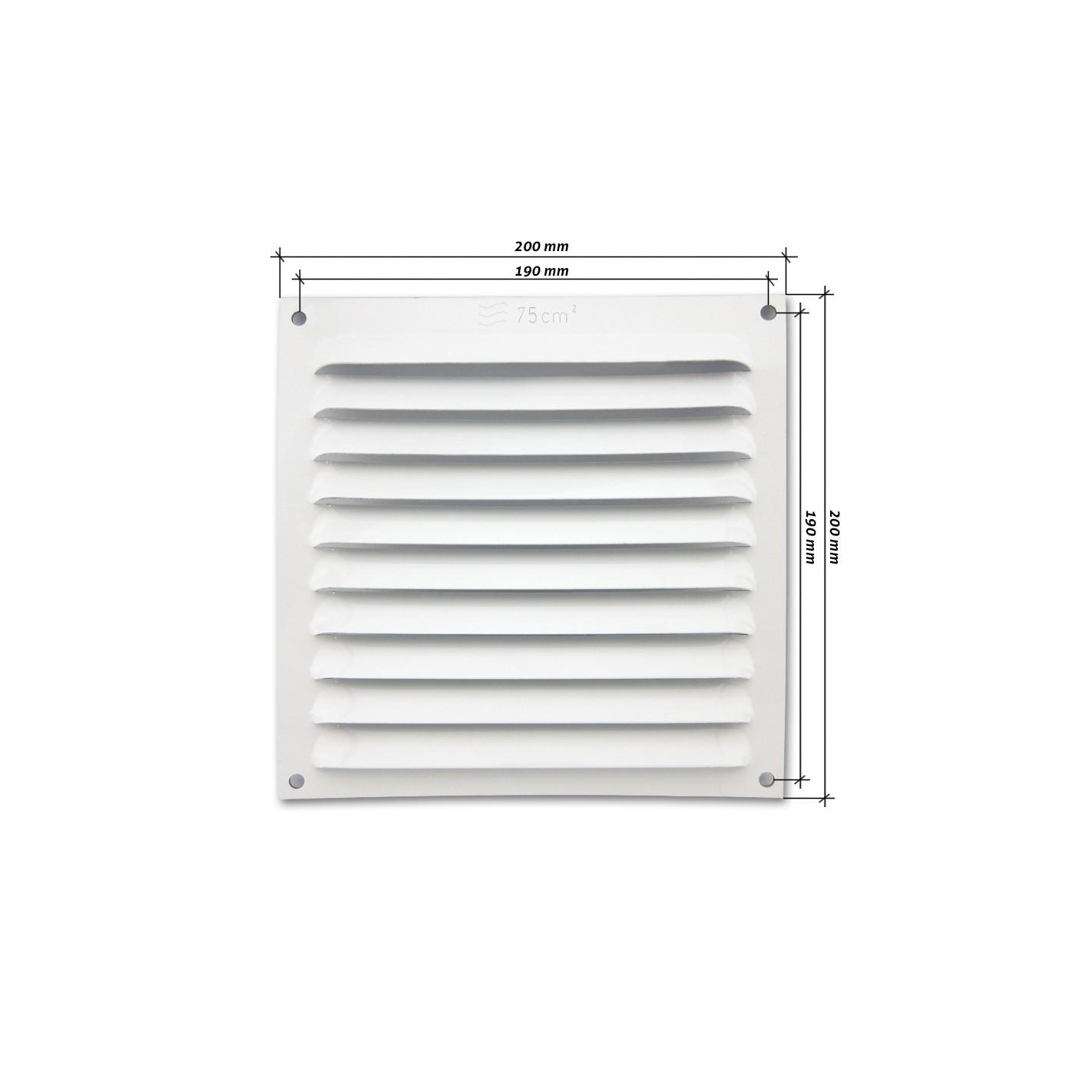 Rejilla de ventilaci n plana 200x200 mm blanca alg sistemas - Rejillas de ventilacion precios ...