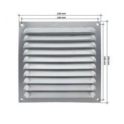 Rejilla de ventilación plana 200x200 mm Aluminio