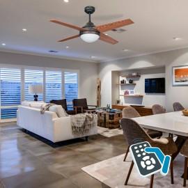Ventilador de techo con luz Rústico/Cerezo-Nogal Serie Eolo