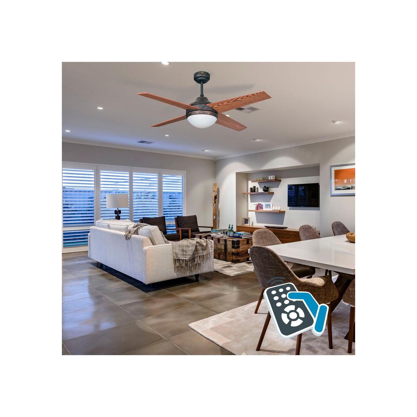 Ventilador de techo con luz r stico cerezo nogal serie - Ventiladores de techo rusticos ...