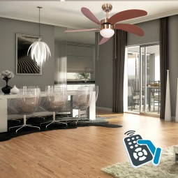 Ventilador de techo con luz Serie Cibeles Cuero/ Cerezo o Nogal