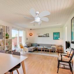 Ventilador de techo con luz Serie Delfín Blanco/Blanco