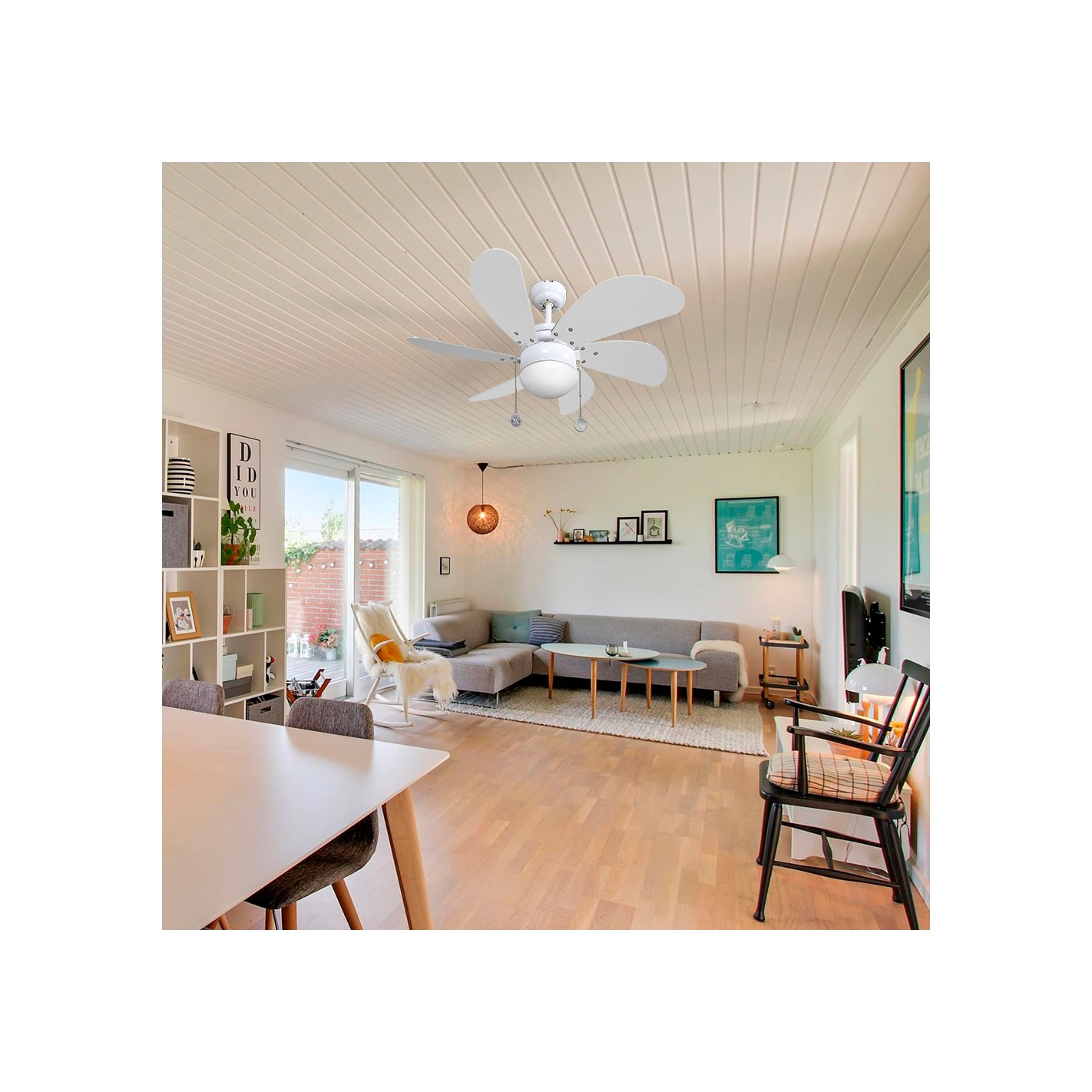 Ventilador de techo con luz serie delf n blanco blanco for Ventilador de techo blanco con luz