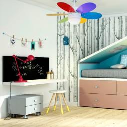 Ventilador de techo led blanco/multicolor brillo Rainbow