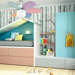 Ventilador de techo con luz multicolor pastel/multicolor brillo Rainbow