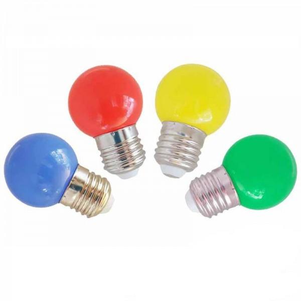 Bombilla led esferica mate 1.5W E27 Colores