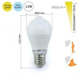 Bombilla LED estándar 12W E27 sensor movimiento y crepuscular EDM