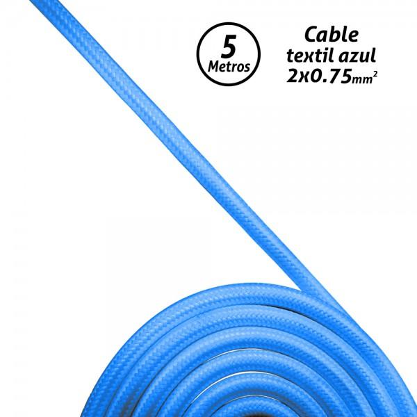 Cable textil 2x0,75 azul (Rollo 5 mts.)