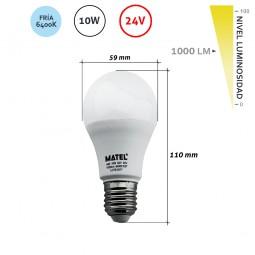 Bombilla led estándar 10W 24V E27 Fría