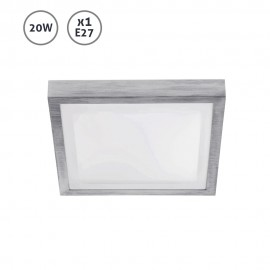 Plafón de techo cuadrado gris Tola E27 20W