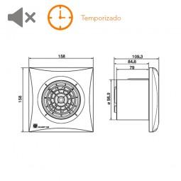 Extractor de baño con temporizado S&P Silent-100 CRZ