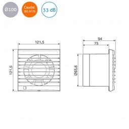 Extractor de baño S&P Edm-80 N