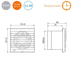 Extractor de baño con temporizado S&P Edm-80 NT