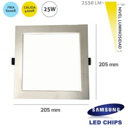 Downlight Cuadrado 25W LED Samsung SMD50630 Plata