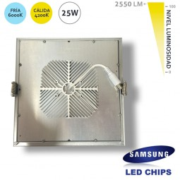 Downlight Cuadrado 25W LED Samsung SMD50630 Plata