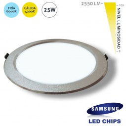 Downlight Redondo 25W LED Samsung SMD50630 Plata