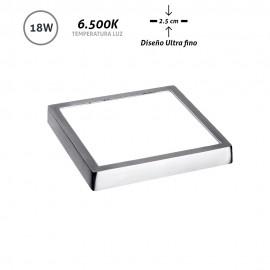 Downlight LED superficie cuadrado cromo Ultra Fino 18W