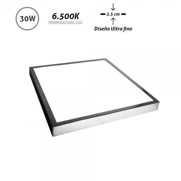 Downlight LED superficie cuadrado cromo Ultra Fino 30W