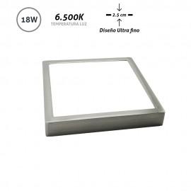 Downlight LED superficie cuadrado níquel Ultra Fino 18W