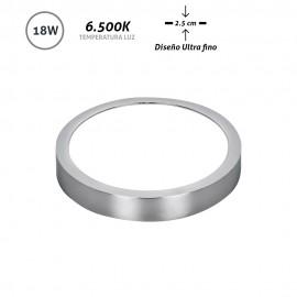 Downlight LED superficie redondo cromo Ultra Fino 18W