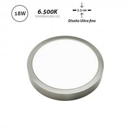Downlight LED superficie redondo níquel Ultra Fino 18W