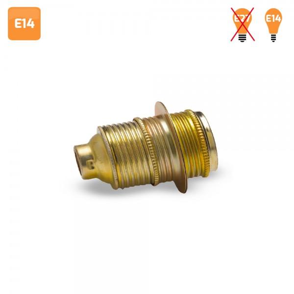Portalámparas vintage E14 metal con arandela exterior