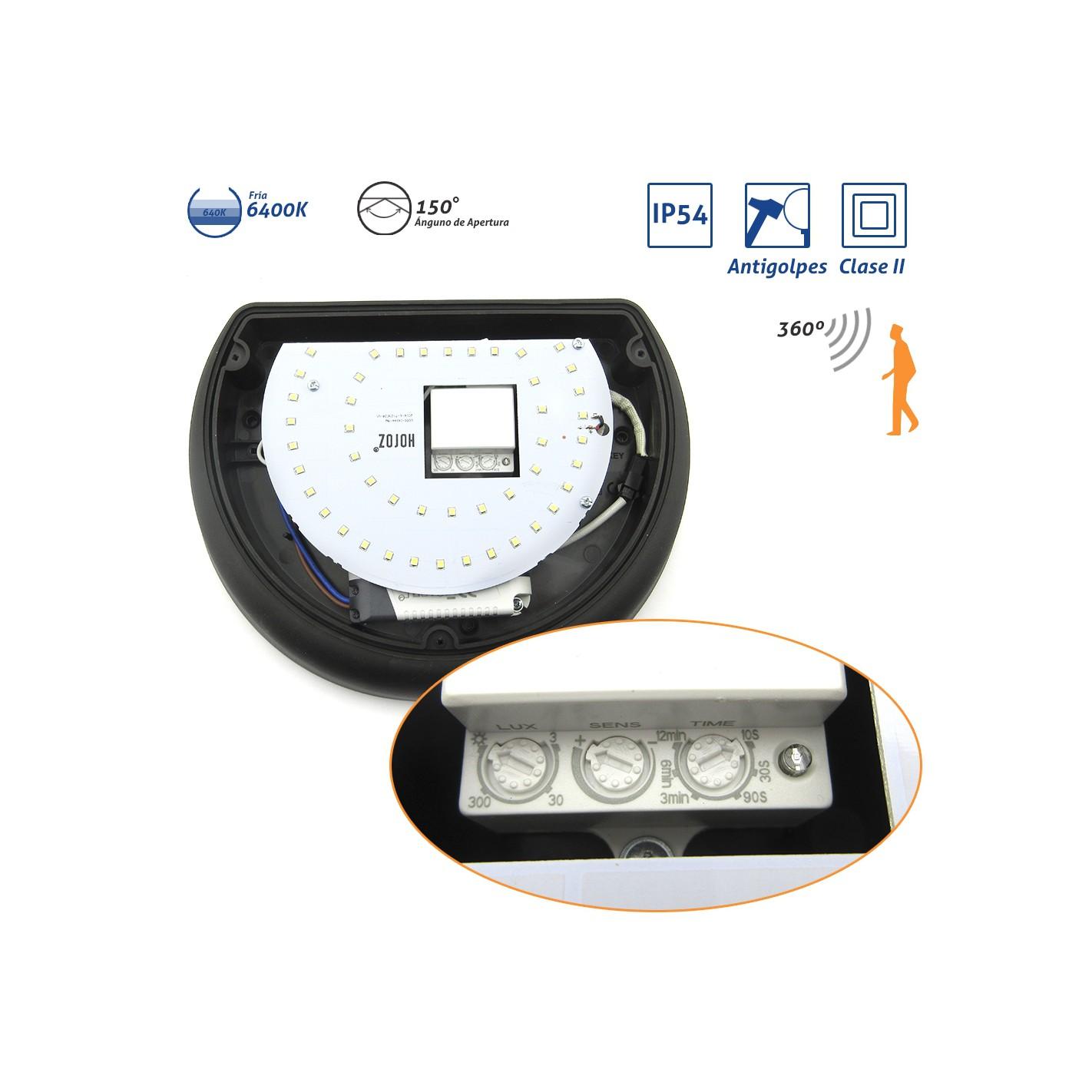 Plaf n media luna ip54 antivand lico led 6400k con sensor for Plafon pared led con sensor pir