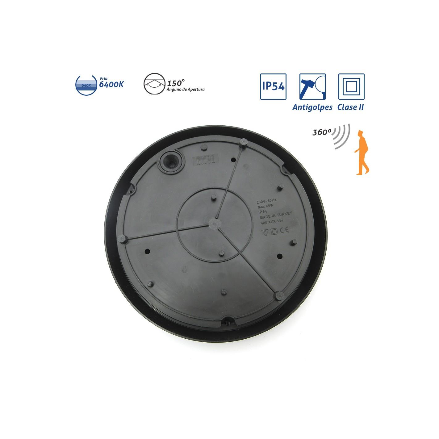 Plaf n exterior ip54 clase ii antivand lico negro led for Plafon pared led con sensor pir