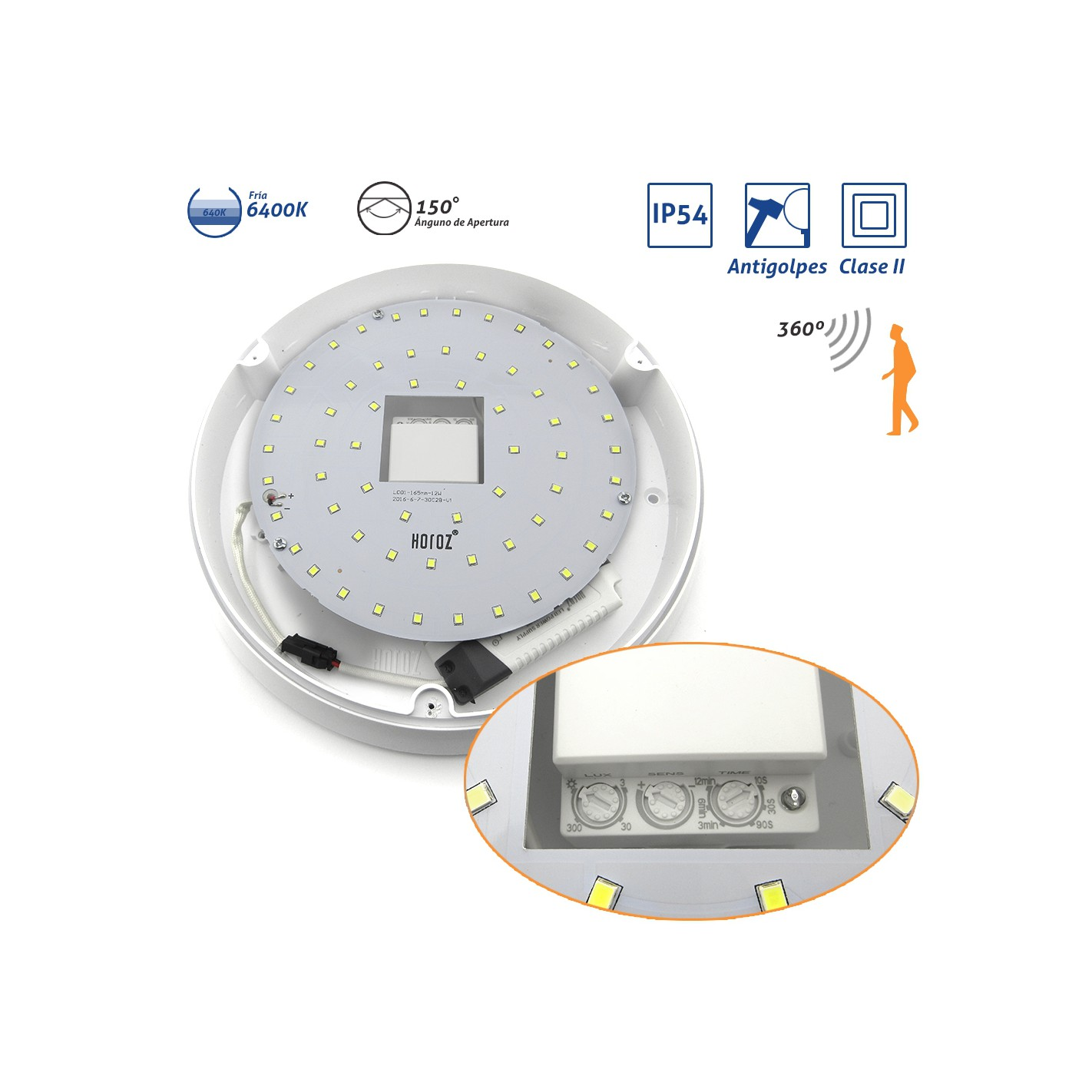 Plaf n exterior ip54 clase ii antivand lico blanco led for Plafon pared led con sensor pir