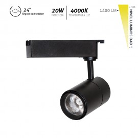 Foco LED para carril Veleta negro 20W 1400Lm