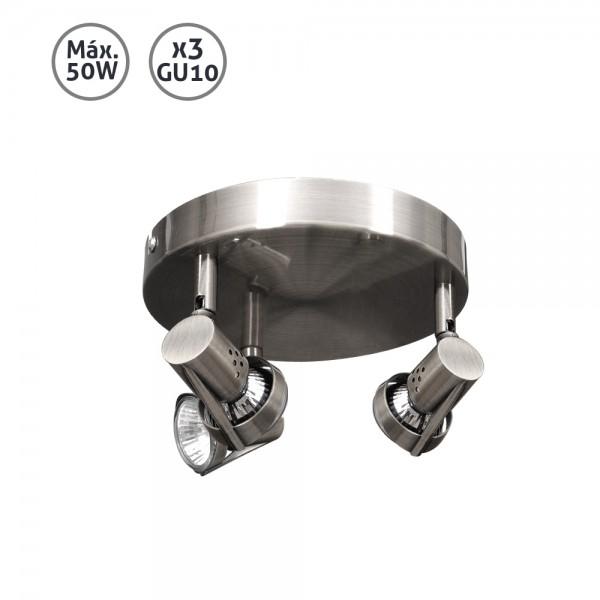 Plafón foco halógeno níquel Daniel 50W 3xGU10