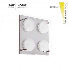 Plafón LED cristal cromo Antioquia 24W 1600Lm