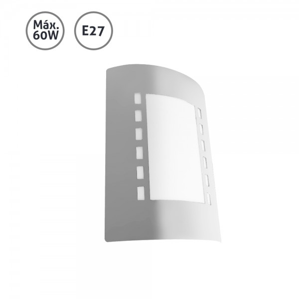 Aplique pared exterior rect ngulo acero inox 60w e27 for Aplique para bano en acero inoxidable