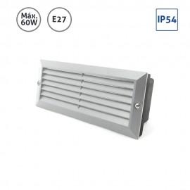 Baliza rectangular aluminio gris con rejilla y cristal 60W E27