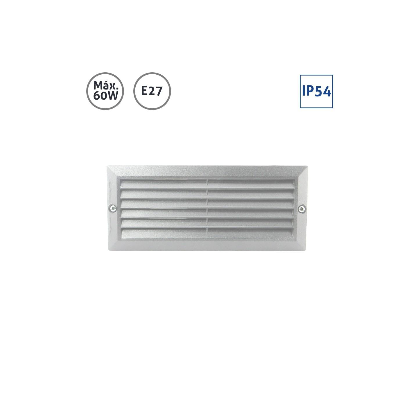 Baliza rectangular aluminio gris rejilla cristal 60w e27 alg sistemas - Focos empotrables exterior ...